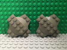 LEGO - Lot of 2 Modified Plate 6 x 6 x 2/3 Cross with Dome DARK GRAY 7314, 4990