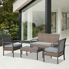 Outsunny 4Pc Outdoor Patio Rattan Sofa Set Wicker Cushioned Garden Furniture