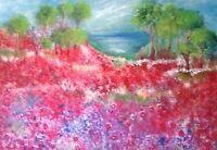 "50"" Original Floral Monet. Style Garden Painting SUMMER OASIS"