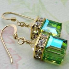 1 Pair Women Green/Blue Gemstone Cube Earrings Anniversary Wedding Jewelry Gift