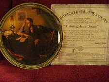 """Knowles Limited Edition """"A Young Man's Dream"""" Norman Rockwell Plate (#19862F)"""