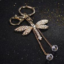 Elegant Bead Dragonfly Keyring Crystal Charm Pendant Purse Bag Decor Key Ring