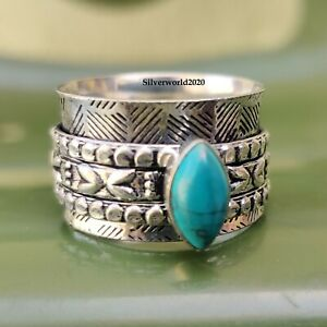 Turquoise Spinner Ring 925 Sterling Silver Plated Handmade Ring Size 10 yu09