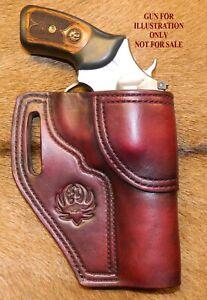 "Gary C's Leather Avenger Revolver Holster RUGER SP101  4.2""  Decorative stamp."