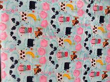 New Nursery Rhyms on Light Blue Flannel Fabric by the Yard