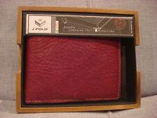 J. FOLD RED TOP GRAIN SLIMFOLD LEATHER TORRENT WALLET N10011/05 - BRAND NEW