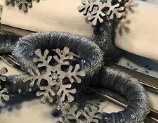 Napkin ring set 6 Serviette holder Christmas ball dinner decor beaded handmade