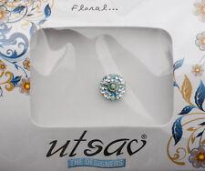 Bindi bijoux de peau front ht de gamme rond fleur strass 11mm bleu ING B 3646