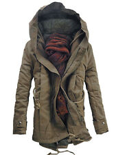 Military WINTER Men Slim Fit Padded Coat Warm Parka Trench Outwear Hooded Jacket