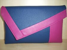 Large pink and royal blue faux leather clutch bag, fully lined BN, UK made