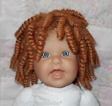 "Human Hair Doll Wig SZ 11/12"" (29-31 cm)~Ethnic Spirals Carrot Red ~Full Cap Wig"