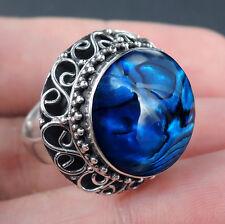 BLUE PAUA ABALONE SHELL & 925 Sterling Silver Ring Jewellery, Size M-UK, 6.5-USA