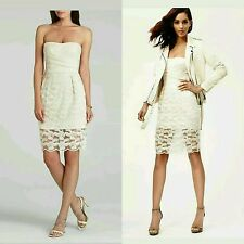 $368 BCBG MAX AZRIA Ivory Lace Mesh Embroidery Adrianna Cocktail Dress ~10 M3020