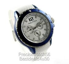 NEW NAUTICA MENS YACHT DRESS SPORT WATCH BLUE ALUMINIUM DIAL  WHITE RUBBER STRAP