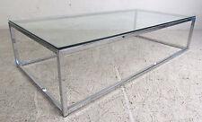 Mid-Century Modern Rectangular Chrome and Glass Coffee Table (5546)NJ