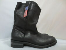 "Mens 11"" Double H Black Ranch Pull On Work Boot Size 11.5 EE #DH057 Made in USA"