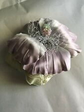 Handmade Purple Pastel Green Silk Hibiscus Flower Fascinator + Pin w Crystals
