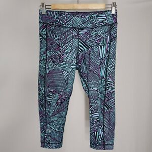 Under Armour Athletic Capri Pants Womens Small Turquoise Black Geometric Pull On