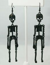 "Skeleton 4"" Black Long Crystal Silver Plated Dangle Earrings Halloween Gift"