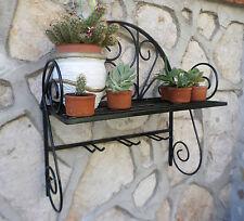 Mensola Rustica fioriera in ferro battuto parete rustica nera cucina giardino
