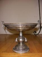 Rare antique Taunton silver plate Victorian compote taza figural peacock & dogs