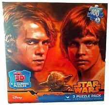 Star Wars 3D Lenticular 100pc Puzzle Pack 3 Anakin Luke Skywalker Yoda Disney