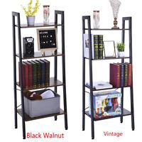 4-Tier Wood Bookcase Shelf Ladder Bookshelf Storage Display Rack Furniture USA