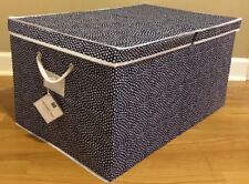New Pottery Barn Teen Dottie Large Canvas Bin Under Bed Navy *issue*