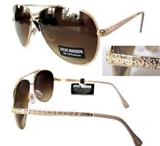NWT STEVE MADDEN Womens Sunglasses Gold/Brown with decorative handles