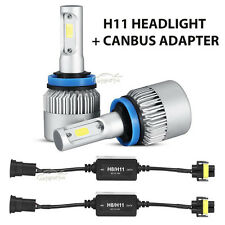 2x H11 H8 H9 388W 38800lm Car LED Headlight Bulbs Kit + Canbus Adapter Harness