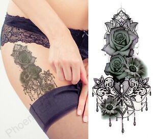 Temporary Tattoo Black Lace Rose Heart Fake Body Art Sticker Waterproof Ladies