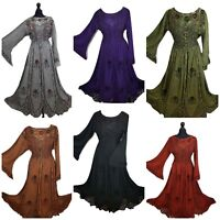Corset Dress Victorian Bell Sleeve Medieval Halloween Gothic Gown 14 16 18 20 22