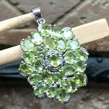 Natural 25ct Green Peridot 925 Solid Sterling Silver Designer Pendant 40mm