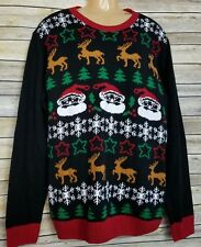 Ugly Christmas Sweater Men's 2XL Reindeer Snowflakes Santa Claus Evergreen Trees