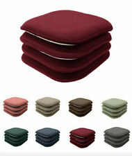 4 Pack: Non Slip Chenille Premium Memory Foam Chair Cushions - Assorted Colors
