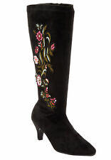 NEW WOMENS SIZE11 COMFORTVIEW BLACK WITH EMBROIDERY FAUX SUEDE WIDE CALF BOOTS