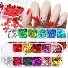 Art Love Heart Nail Sequins Glitter Flakes 3D Nail Decoration Holographic Laser