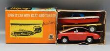 vintage SSS Shioji Japan TINY GIANT tin toy sports car w/ boat & trailer in BOX!