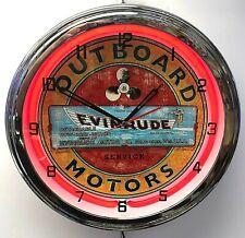 "Evinrude Boat Motors 16"" Red Neon Clock Chrome Finish"