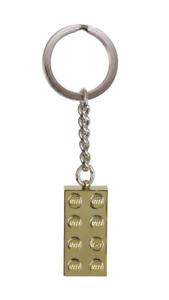 BRAND NEW SHINY METALICIZED GOLD LEGO 2x4 BRICK KEY CHAIN CHARM KEYRING 850808