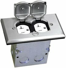 1-Gang Floor Box Electrical Duplex 20A Outlet Recepacle Steel