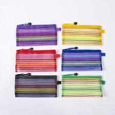 Nylon Pencil Pouch Office Pen File Holder Plastic Cases Zipper Mesh Bag Ld