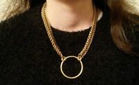 "20"" Chunky Chain-mail O Ring Pendant Necklace Golden Persian 4 in 1 Statement"