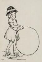 BURGER, Bildniss eines Mädchens in Tracht mit Spielreifen, 20. Jh., Tusche