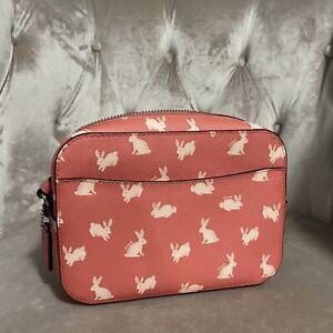 New Coach Rabbit Hop Mini Camera Crossbody Bag Purse Handbag Orange Silver Nwt