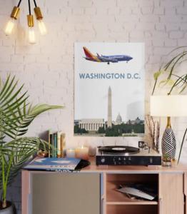 "Southwest Boeing 737 over Washington DC Art - 18"" x 24"" Poster"