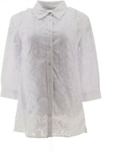 Liz Claiborne NY Abstract Floral Burnout 3/4 Sl Tunic Shell White XS NEW A214956