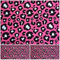 Polycotton Fabric PINK ANIMAL PRINT LEOPARD CAT Per Metre Craft Material