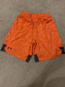 NEW Under Armour Mens UA HeatGear Stretch Train Tapout Shorts Orange SZ MD M