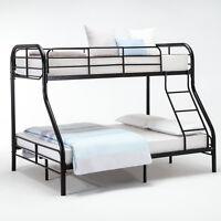 Metal Twin over Full Bunk Beds Ladder Kids Teens Adult Dorm Bedroom Furniture
